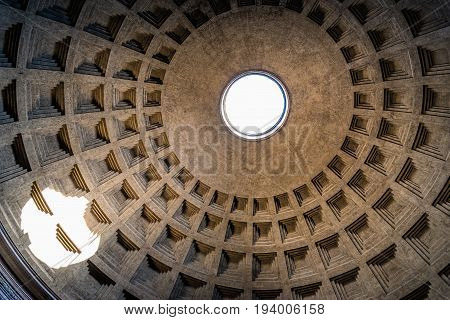 Rome Italy - August 18 2016: Indoor view of Pantheon of Agripa in Rome. The Pantheon is a former Roman temple now a church.