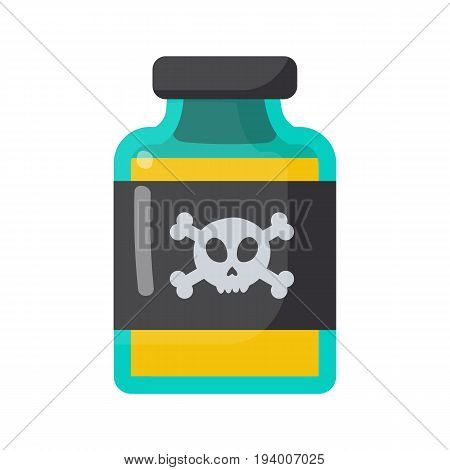 Poison bottle vector flat icon Flat design of toxic dangerous or medicine isolated on the white background cute vector illustration with reflections