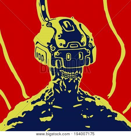 Cybersport. The helmet of virtual reality. Science fiction. Vector illustration. Original character cyborg pilot . poster