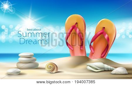 illustration of a summer sandy beach with seashells, pebbles and beach slippers against the turquoise sky and the sea. An excellent advertising poster for a travel agency
