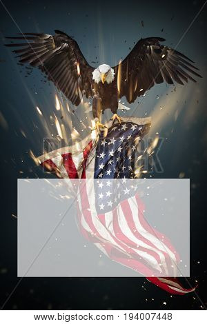 Flying North American Bald Eagle with American flag.