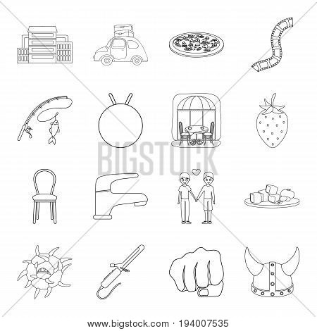history, fishing, furniture and other  icon in outline style.sports, medicine, travel icons in set collection.