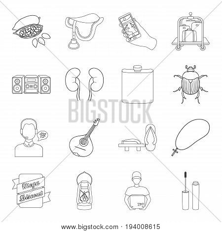 cosmetics, medicine, hunting and other  icon in outline style.music, racecourse, cooking icons in set collection.