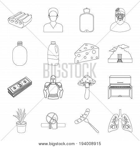 medicine, army, cooking and other  icon in outline style.art, finance, Mexico icons in set collection.