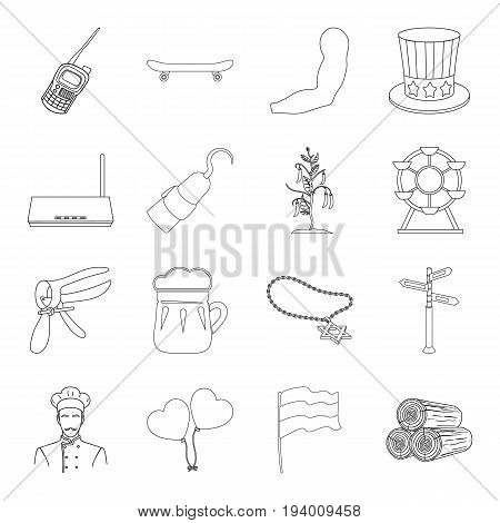 Food, sport, sanitary ware and other  icon in outline style.Medicine, alcohol, security icons in set collection.