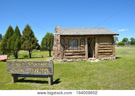 NEWCASTLE, WYOMING - JUNE 23, 2017: Anna Miller Museum  Jenney Stockade. The main museum is housed in the Wyoming Army National Guard Cavalry Stable, the last calvary stable in Wyoming.
