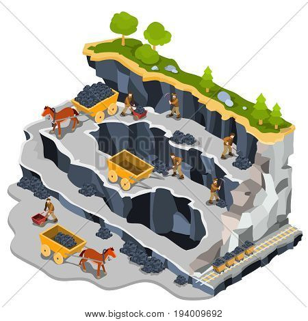 3D isometric illustration of a coal mine quarry with miners, coal trolleys, horse-drawn carts. The concept of coal mining with the help of manual labor