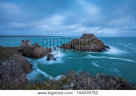 Fort de Bertheaume built on rocks in the Atlantic ocean on the French coast at Plougonvelin Brittany