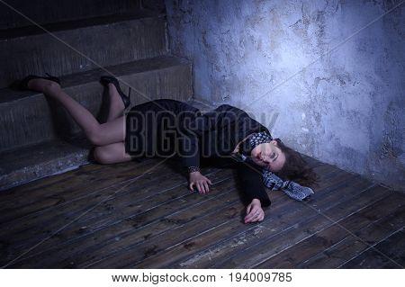 Crime Scene With Strangled Retro Styled Fashion Woman In A Darkplace