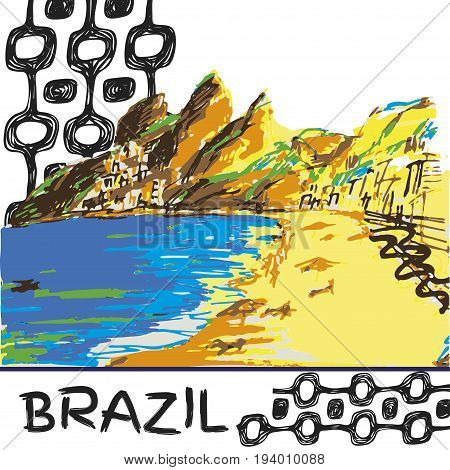 Brazilian hand drawn sketch. Ipanema style concept and logo.