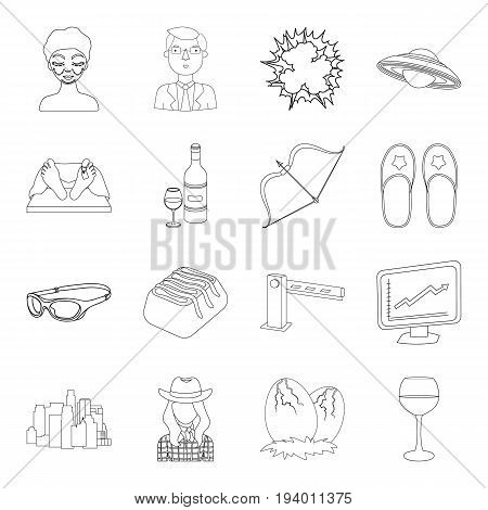 finance, alcohol, food and other  icon in outline style. space, technology, transportation icons in set collection.