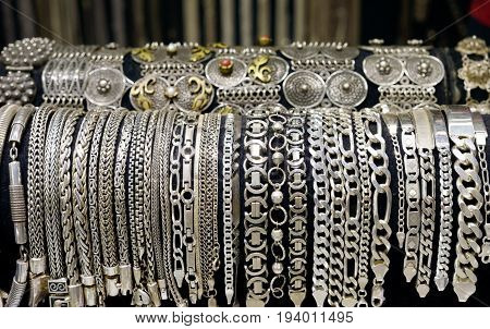 Silver old fashion bracelets , in a show room
