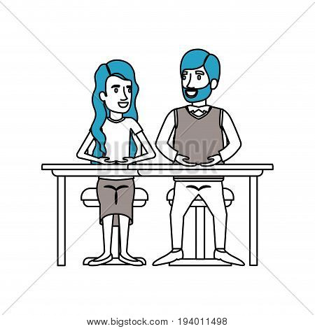 silhouette color sections of teamwork of couple sitting in desk and woman with wavy long hair and man van dyke hair in formal suit vector illustration