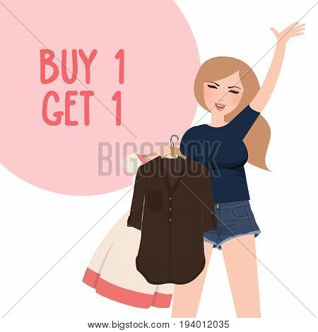 buy one get 1 free discount promo girl happy holding purchase choose clothes vector