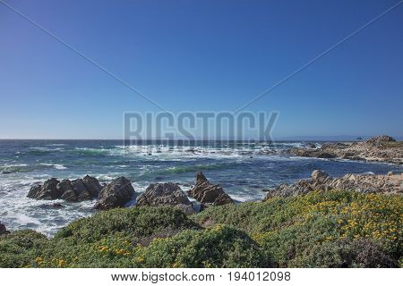Breathtaking view of the sea along 17 mile drive Pebble Beach California