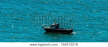 Fishing Boat On The Ocean, Recreational Fishing, Open Water Tank, Relax And Active Leisure
