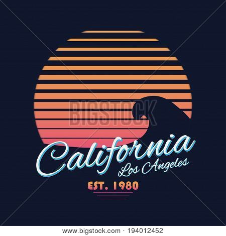 80S Style Vintage California Typography. Retro T-shirt Graphics With Tropical Paradise Scene And Wav
