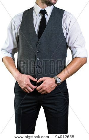 Businessman In A White Shirt Is Holding His Hands On Belt