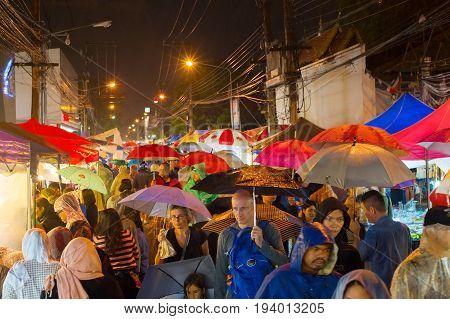 Crowded Thailand Rainy Street