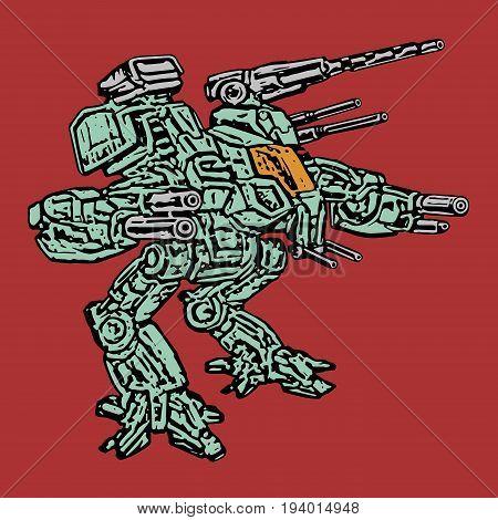 The combat vehicle. Vector illustration. Science fiction clip art. Original sci-fi concept robot.