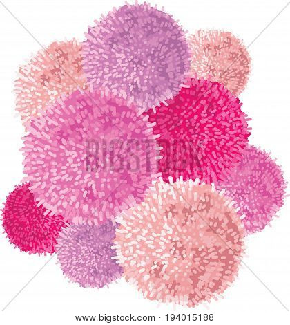 Vector Chunky Bunch of Pink Baby Girl Birthday Party Pom Poms Element. Great for handmade cards, invitations, wallpaper, packaging, nursery designs. Home decor elements.