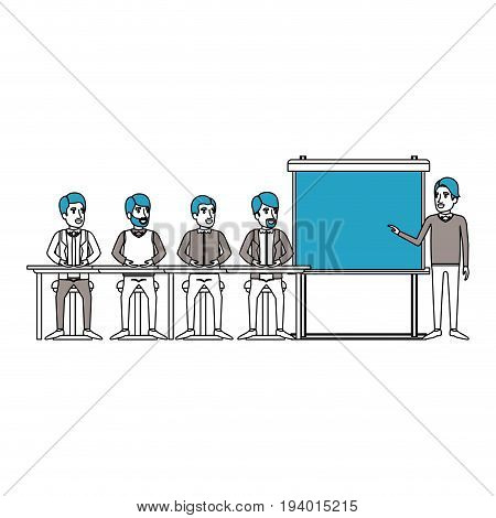 silhouette color sections with men group sitting in a desk for executive male in presentacion business people vector illustration