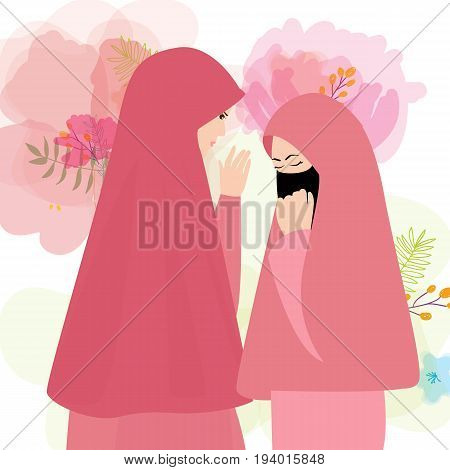 friends wear veil scarf islam cover face two woman girl vector