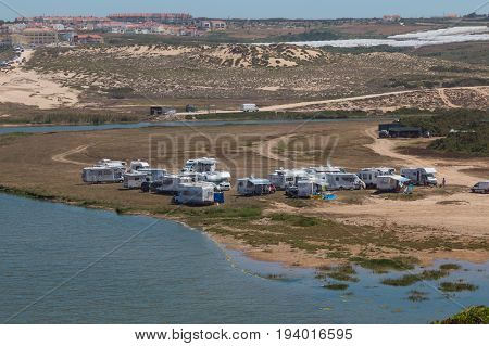 Parking Of Campers On Coast In Europe