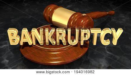 Bankruptcy Law Concept 3D Illustration