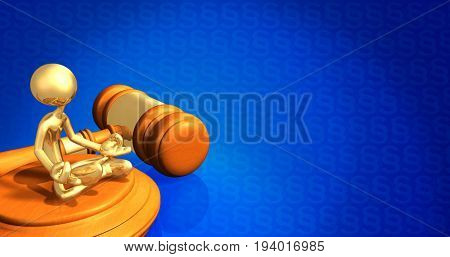 Law Guru Concept The Original 3D Character Illustration With A Section Symbol