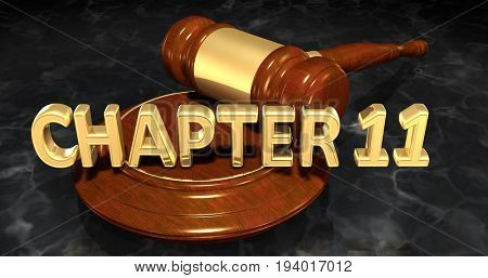Chapter 11 Law Concept 3D Illustration