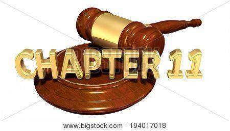 Chapter 11 Law Concept 3D Illustration