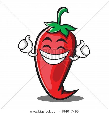 Proud red chili character cartoon vector illustration