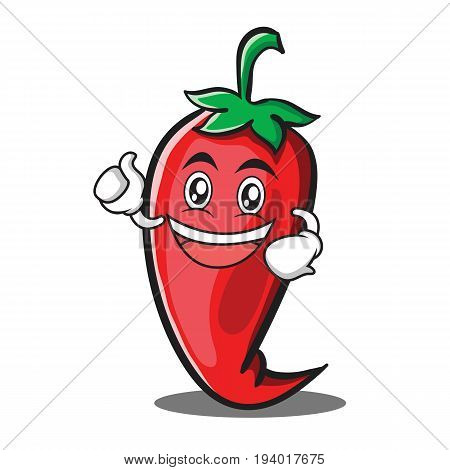 Enthusiastic red chili character cartoon vector illustration