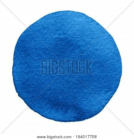 Blue Lapis Cobalt Watercolor Circle. Watercolour Stain On White Background.