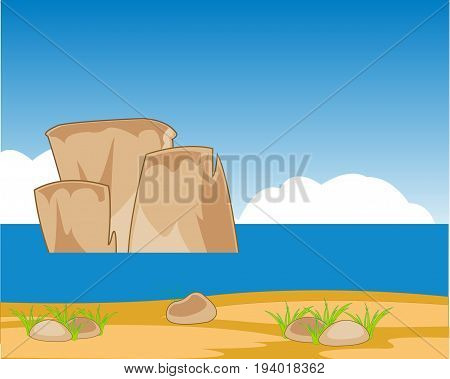 Landscape oceanside year daytime and sand.Vector illustration
