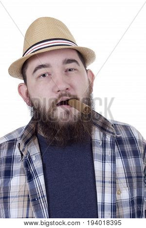 young man with a beard and a cigar in a straw hat