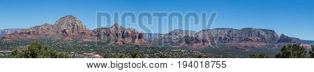 A scenic Panorama of the Red Rocks of Sedona