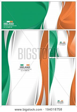 Ireland flag abstract colors background. Collection banner design. brochure vector illustration.