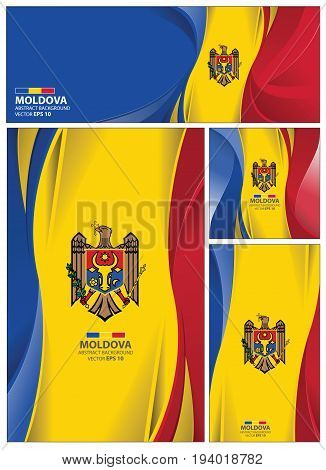 Moldova flag abstract colors background. Collection banner design. brochure vector illustration.