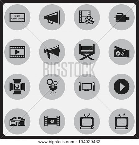 Set Of 16 Editable Filming Icons. Includes Symbols Such As Hd Tape, Video, Spotlight And More. Can Be Used For Web, Mobile, UI And Infographic Design.