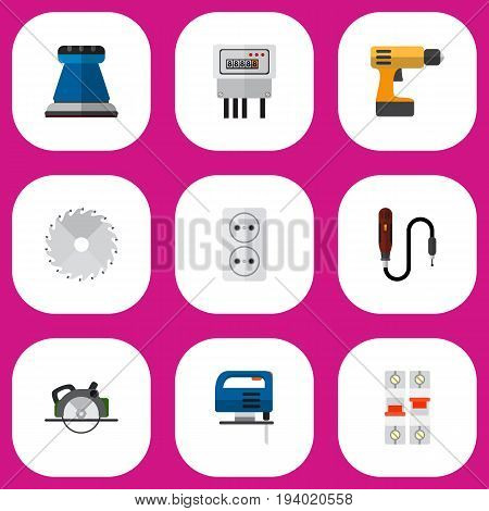 Set Of 9 Editable Electrical Icons. Includes Symbols Such As Electric, Circular, Buzzsaw And More. Can Be Used For Web, Mobile, UI And Infographic Design.