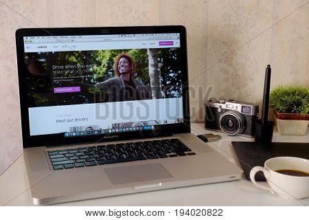 CHIANG MAITHAILAND - NOV 14 2017 : Uber WebPage On Screen Apple Macbook pro. Uber - Company of San Francisco established under the eponymous mobile application for searching