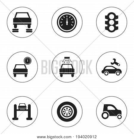 Set Of 9 Editable Vehicle Icons. Includes Symbols Such As Odometer, Service, Stoplight And More. Can Be Used For Web, Mobile, UI And Infographic Design.