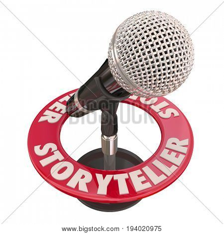 Storyteller Microphone Speaker Guest Host Telling Tales 3d Illustration