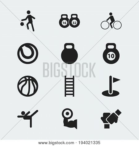 Set Of 12 Editable Healthy Icons. Includes Symbols Such As Heavy Training, Acrobatics, Game Ball And More. Can Be Used For Web, Mobile, UI And Infographic Design.