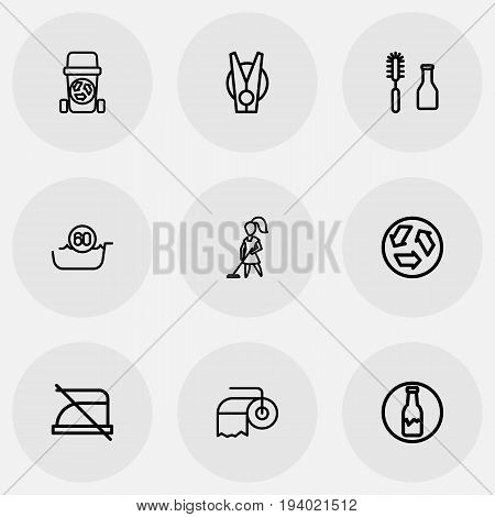 Set Of 9 Editable Cleaning Icons. Includes Symbols Such As Badge, Laundry Pin, Ecology And More. Can Be Used For Web, Mobile, UI And Infographic Design.