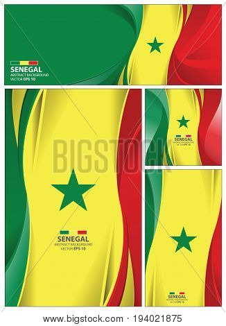 Senegal flag abstract colors background. Collection banner design. brochure vector illustration.