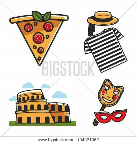 Italian traditional elements colorful vector poster on white. Close up collection of tasty pizza piece, venetian gondolier clothes, Colosseum sightseeing and theatrical masks, Italy tourist map