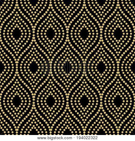 Seamless vector ornament. Modern golden dotted background. Geometric modern pattern